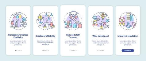 Gender diversity policy benefits onboarding mobile app page screen with concepts