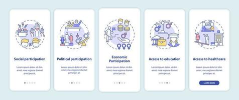 Gender gap criteria onboarding mobile app page screen with concepts
