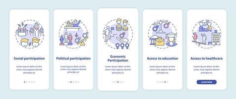 criterios de brecha de género incorporación de la pantalla de la página de la aplicación móvil con conceptos