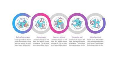 Plantilla de infografía de vector de atributos de reloj inteligente