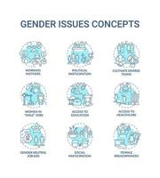 Gender issues concept icons set