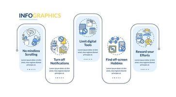 lucha contra la adicción a la pantalla vector plantilla de infografía