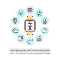 Icono de concepto de relojes inteligentes multifuncionales con texto