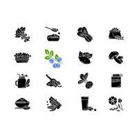 Superfoods variedad iconos de glifos negros en espacio en blanco