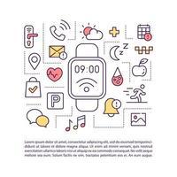 icono de concepto de aplicaciones de smartwatch con texto