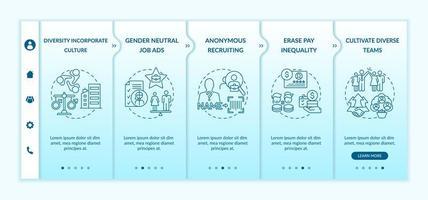 Gender diversity implementation tips onboarding vector template