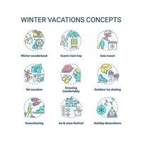 conjunto de iconos de concepto de vacaciones de invierno