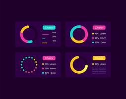 Pie charts UI elements kit vector