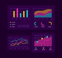 Progress charts UI elements kit vector