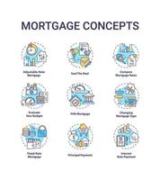 Mortgage concept icons set vector
