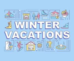 banner de conceptos de palabra de vacaciones de invierno