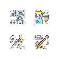 Conjunto de iconos de colores rgb de variedad de géneros musicales modernos