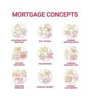 conjunto de iconos de concepto de hipoteca