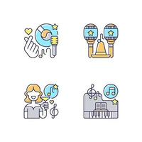 Party songs ideas RGB color icons set vector