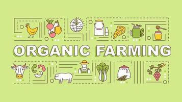 banner de conceptos de palabra de agricultura orgánica