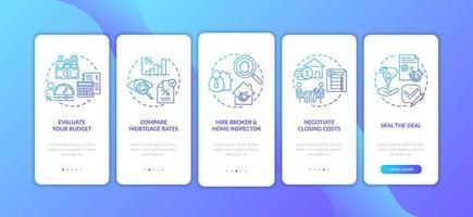 consejos para compradores de vivienda por primera vez sobre la incorporación de la pantalla de la página de la aplicación móvil con conceptos