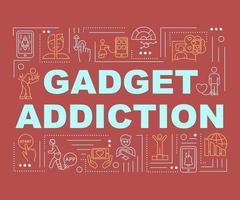 banner de conceptos de palabra de adicción a gadgets