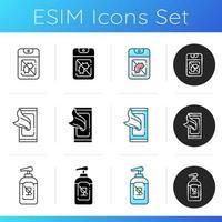 Conjunto de iconos de desinfectantes desinfectantes