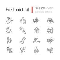 First aid kit linear icons set