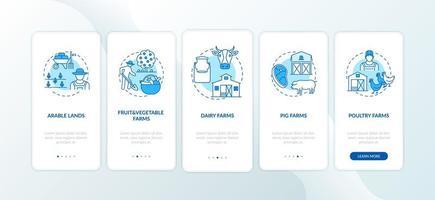 tipos de producción agrícola incorporación de la pantalla de la página de la aplicación móvil con conceptos vector