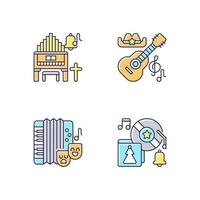 Different cultures music RGB color icons set vector