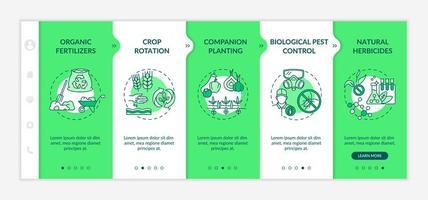 Organic farming principles onboarding vector template