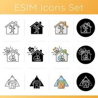 Transitional housing icons set