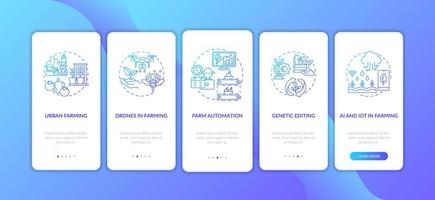 Pantalla de página de aplicación móvil de incorporación de innovación agrícola con conceptos