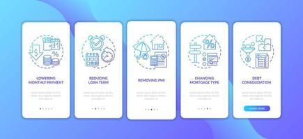 Beneficios de refinanciamiento hipotecario Incorporación de la pantalla de la página de la aplicación móvil con conceptos