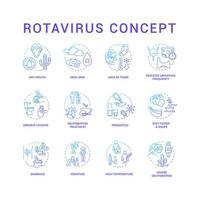 Conjunto de iconos de concepto azul de rotavirus. boca seca. piel fría. observar la higiene. lavarse las manos. síntomas de infección por virus idea ilustraciones en color rgb de línea delgada. dibujos de contorno aislados vectoriales vector