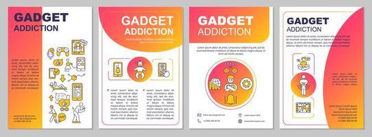 Gadget addiction brochure template vector