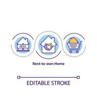 Rent-to-own home concept icon