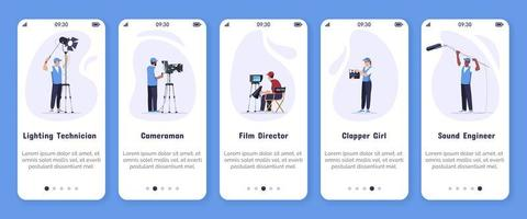 Plantilla de vector de pantalla de aplicación móvil de incorporación de producción de películas