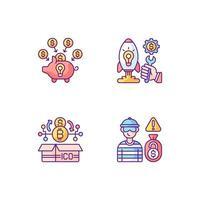 Conjunto de iconos de colores rgb de crowdfunding de diferentes tipos de dinero