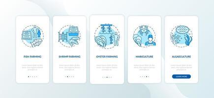 Pantalla de la página de la aplicación móvil de incorporación de acuicultura con conceptos