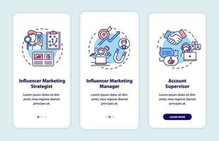 Influencer marketing jobs onboarding mobile app page screen with concepts