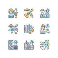 tipos de canciones musicales conjunto de iconos de color rgb