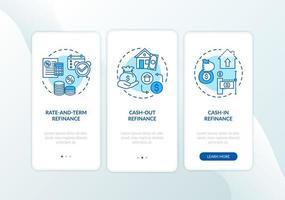 Tipos de refinanciamiento de hipotecas Pantalla de página de aplicación móvil incorporada con conceptos