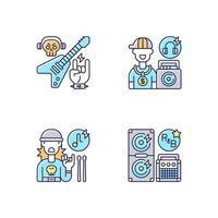 Conjunto de iconos de colores rgb de música callejera moderna