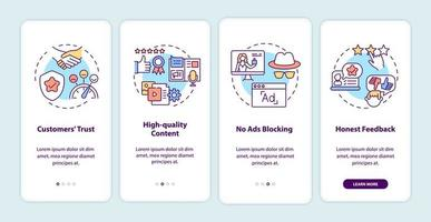 Influencer marketing benefits onboarding mobile app page screen with concepts