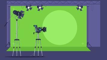 Programa de noticias filmando ilustración vectorial semi plana