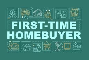 banner de conceptos de palabra para compradores de vivienda por primera vez