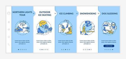 Winter recreational activities onboarding vector template