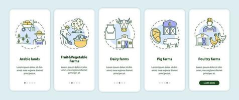 tipos de producción agrícola incorporación de la pantalla de la página de la aplicación móvil con conceptos