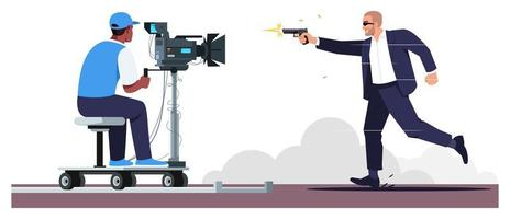 Ilustración de vector de color rgb semi plano de película de acción