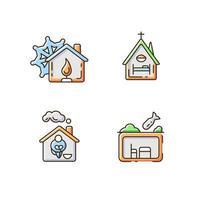 Conjunto de iconos de color rgb de vivienda de apoyo temporal