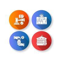 servicios minoristas diseño plano larga sombra glifo conjunto de iconos