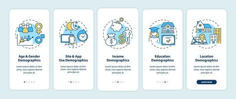 Social media demographics onboarding mobile app page screen with concepts