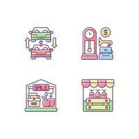 mercado de pulgas, rgb, color, iconos, conjunto