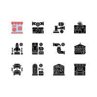 Outlet store iconos de glifos negros en espacio en blanco